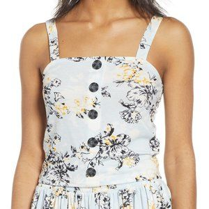 BP. Yellow Blue Floral Button Front Tank Top